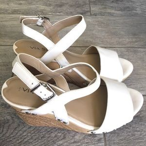 Via Spiga Wallis White Espadrilles Wedge Shoes 8.5
